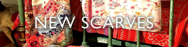 New print scarves in patchwork and paisley print