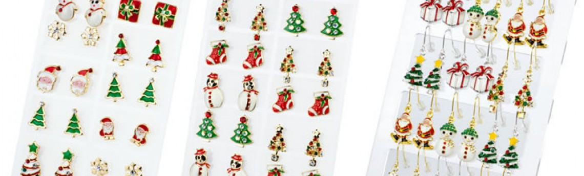 Wonderful Christmas earrings on neat counter POS