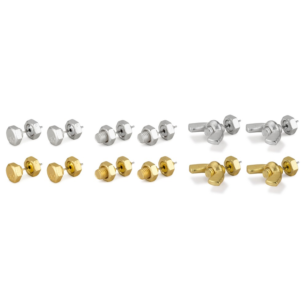 Stud Earring Nuts & Bolts Made With Tin Alloy